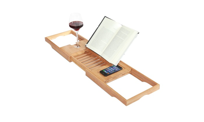 Genial Bamboo Bath Caddy Tray For Bath Tubs ...