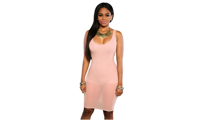 Women's Light Pink Sexy Two in One Bodysuit Mini Dress