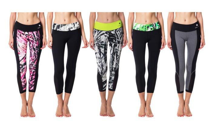 42879c11093fb AT Women's Mesh Cutout Active Crops; Sports Capris & Leggings 5 Color