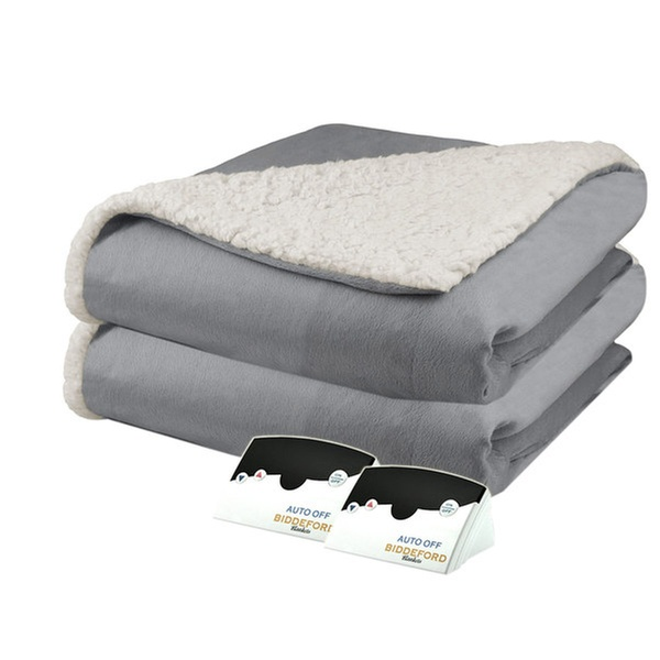 Pure Warmth By Biddeford Micro Mink And Sherpa Heated Blanket Queen Grey Groupon