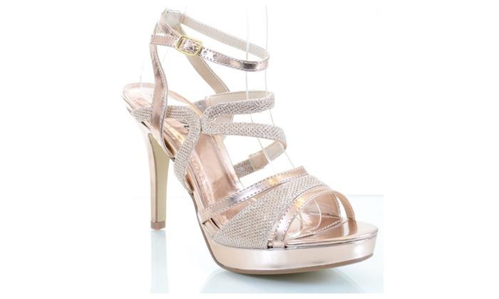 Glitter Mesh Metallic Strappy Open Toe Stiletto Party Sandal Heels