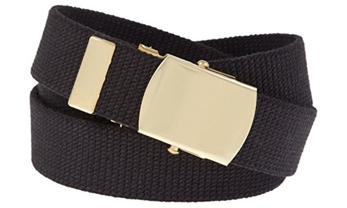 Military Web Belt Cotton Canvas Solid Brass Roller Buckle