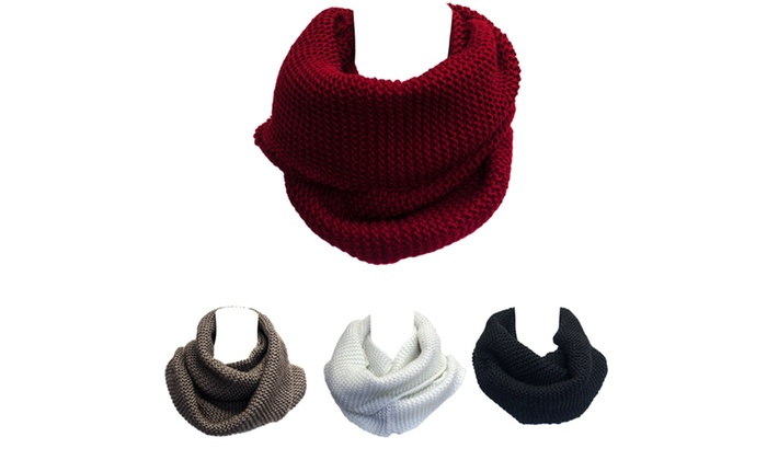 Kate Marie Fashion Braid Knit Infinity Scarf in Black