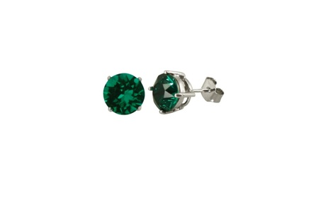 Sterling Silver Round Cut Natural Emerald Gemstone Stud Earrings 3c515b66-4db5-474e-b721-b2cc69459ffb
