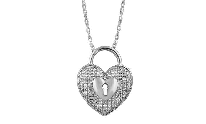 111cfce51b1f 1 10 cttw Round Diamond Ladies s Lock Heart Pendant w 18