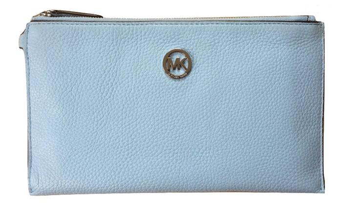 Michael Kors Fulton Leather Clutch Wristlet Wallet Light Sky