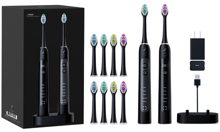JetWave Sonic Electric Toothbrush Dual Set with 8 Brush-Heads and USB Charger