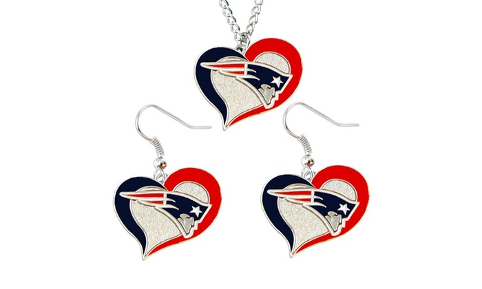 New England Patriots Swirl Heart Necklace & Earring Set NFL Charm Gift