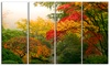 Colorful Maple Trees Floral Photography Metal Wall Art 48x28 4 Panels
