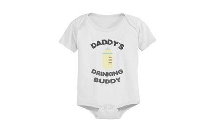 Daddy's Drinking Buddy Cute Pre-shrunk White Cotton Snap-on Baby Bodysuit
