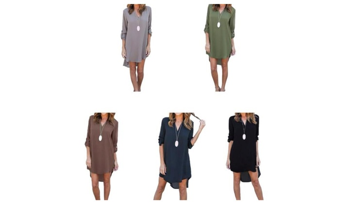 Women's Long-Sleeved Chiffon Dress Fashion V-Neck T-Shirt Short Skirt