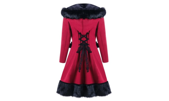 Women s Hooded Coat High Low Hem Lace Up Layered Coats  ee075959a