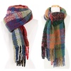 Womens Plaid Pattern Multi Color Knitted Winter Scarf with Fringe