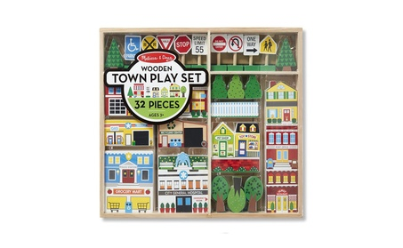 Melissa & Doug Wooden Town Play Set With Storage Tray (32 pcs) fc61db5b-61f3-4e59-91d4-2372299ebe4c