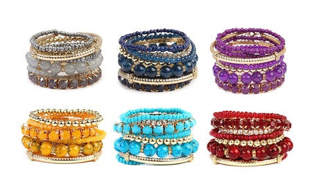 Multicolor Beaded Stretch Bracelet d4047557-ab68-44b8-ab04-c18153f6a0b5