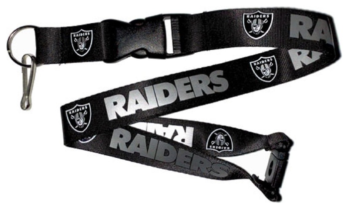 NFL Licensed Keychain Necklace (Lanyard) - Oakland Raiders NFL Black