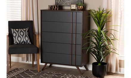 Naoki Two-Tone Grey and Walnut Wood Bedroom Chest and Dresser