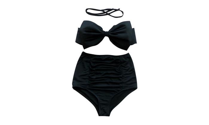 Women Sexy Pleated Bikini Polka Dot High Waisted Bathing Suit