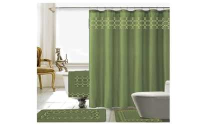 black dark green shower curtain. image placeholder for Charlton 18 Piece Embroidery Shower Curtain Set Curtains  Liners Deals Coupons Groupon