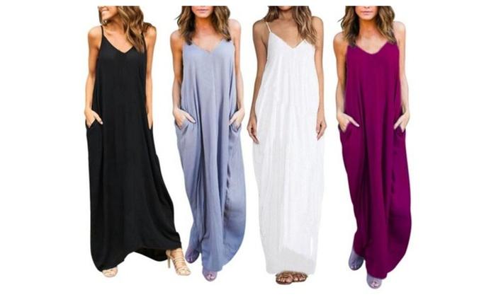 Women Sexy Sling V-neck Dress Long Beachwear  Dress