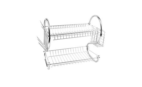 Kitchen holder 2Tier Stainless Steel Dish Drainer Drying Rack 00f0da64-a48b-4cd5-a19c-465effecf01c