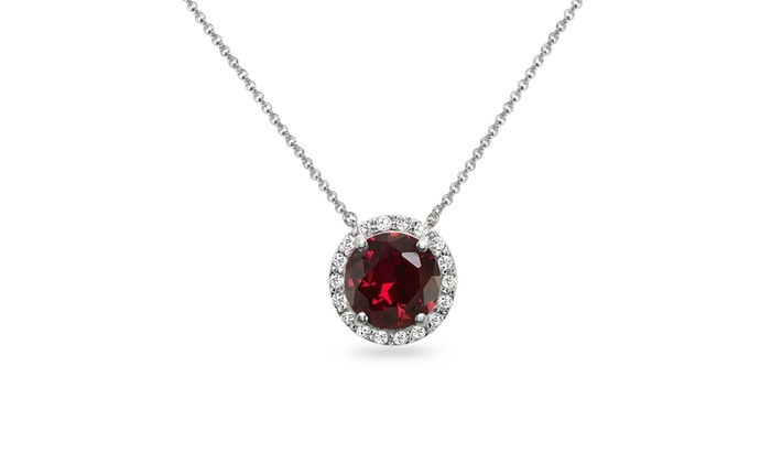 Ruby and white topaz halo slide pendant necklace in sterling silver aloadofball Choice Image