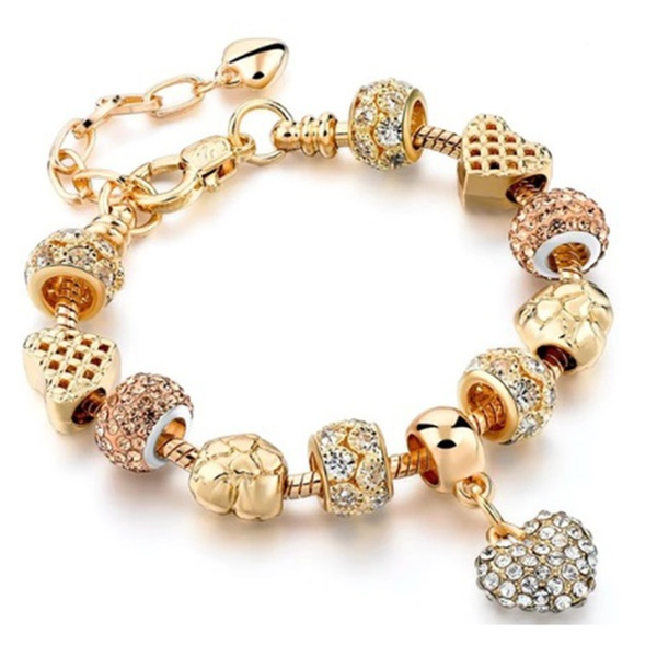 f29a71bbc Pandora Inspired 18K Gold Plated 'I Love You' Charm Bracelet -2 Styles |  Groupon