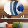Macro of Blue Agate Stone' Disc Abstract Metal Circle Wall Art Print