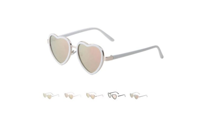 b432576430eb Luxe Rose Gold Heart Shaped Sunglasses with Flat Lens | Groupon