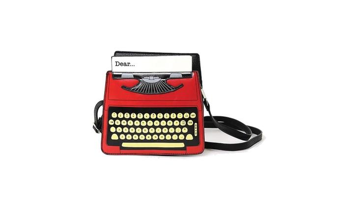 Vintage Typewriter Screen Print Vinyl Satchel Handbag