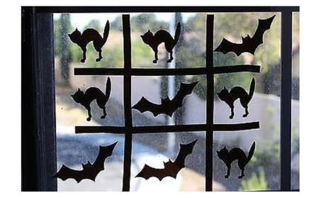 Batty about Cats Halloween themed Tic Tac Toe Window Cling af6e1b00-826f-49e4-8c9a-1bd63f9cae12
