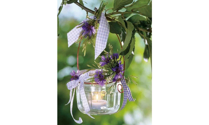Led Tea Candle With Purple Flowers Canvas Wall Art 15 75 X 11