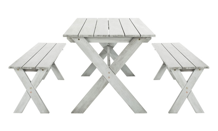Groovy Safavieh Marina Outdoor Table And Bench Set 3 Piece Groupon Machost Co Dining Chair Design Ideas Machostcouk