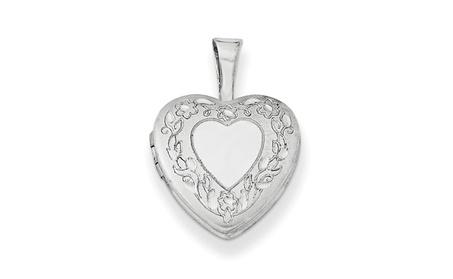 Sterling Silver 0.4in Flower Border Heart Locket a7ad0e08-f5b2-4aa6-b0c9-5fc5e35c6f65