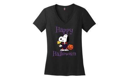 Snoopy Happy Halloween Ladies V-Neck T shirt