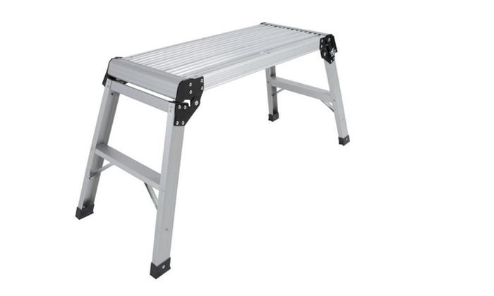 Aluminum Platform Drywall Step Up Folding Work Bench Stool Ladder