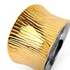 Gold Plated Stainless Steel Wide Concave Grooved Ring