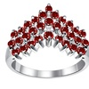 Orchid Jewelry Solid Silver Round Cut Garnet Prong Set Chevron Ring