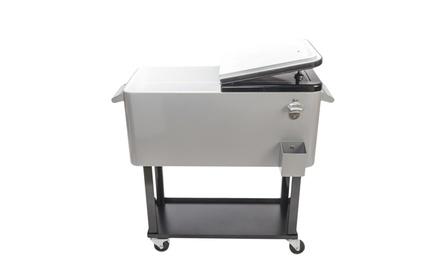 80QT Outdoor Patio Rolling Iron Spray Cooler Ice Beer Chest Cart Shelf