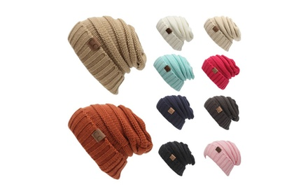 Winter CC Hats Unique Cable Knit Slouchy Knit Slouchy Beanie Cap ... 6258c6345c92
