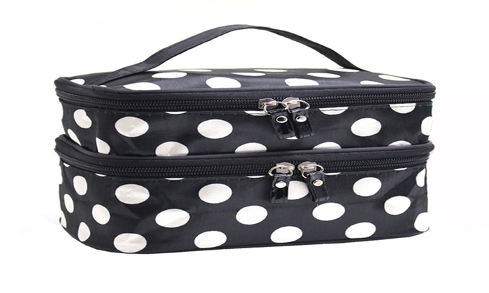 f4f46308f1f7 Adorable Polka Dotted Two-Layer Cosmetic Makeup Bag
