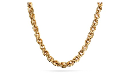 18K Gold Plated Stainless Steel Double Curb Chain Necklace for Men 72e63fc3-88b1-49d3-8f3d-d979b01eca12