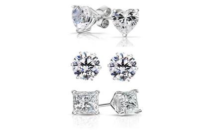 groupon.com - 3-Pair Sterling Silver Swarovski Element Crystal Stud Earrings Set