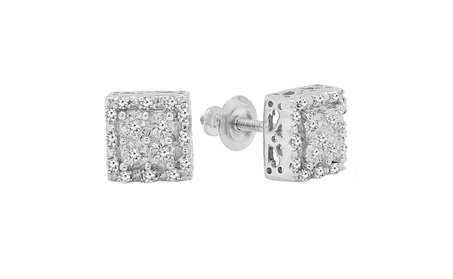 Sterling Silver Round White Diamond Ladies Square Shape Stud Earrings