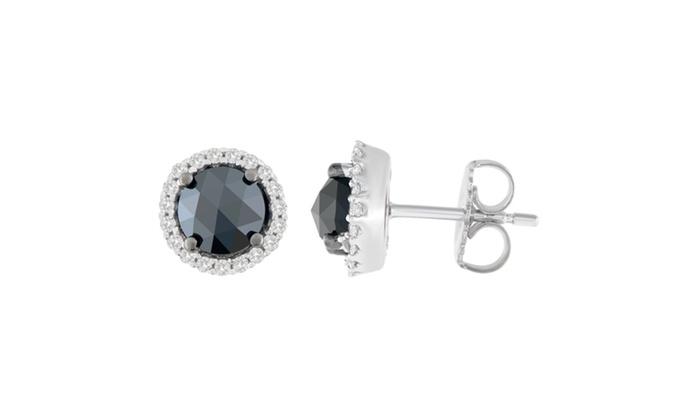 a3f26063d 14K White Gold 2 1/4 CTTW Rose-Cut Black Diamond Stud Earrings(H-I,I2-I3)  Gold 2 ct I2-I3 Black Round Very Good Cut