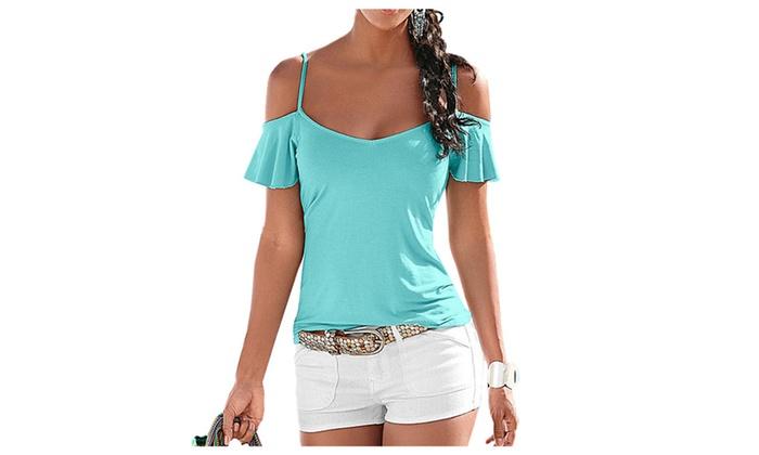 FREDERICK ERDMANN: V Neck Short Sleeve Tops Tee Cotton Off Shoulder T-shirt