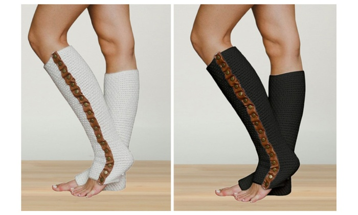 Leather Trimmed Knit Leg Warmers