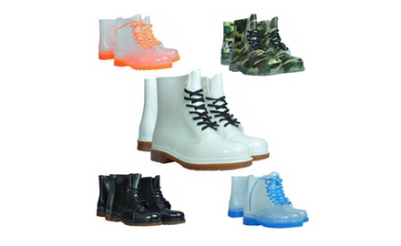 Women's Lace-Up Combat-Style Waterproof Jelly Boots - Assorted Colors