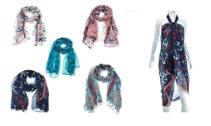 Women's Multi Colors Anchors Print Large Soft Scarves Wrap