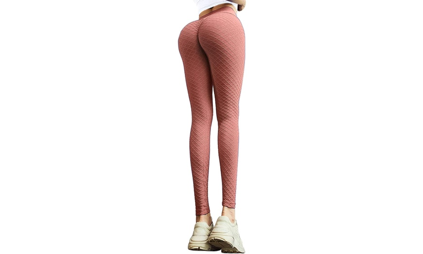 MOSHENGQI Womens Ruched Butt Lifting High Waist Yoga Pants Tummy Control Stretchy Workout Leggings Textured Booty Tights